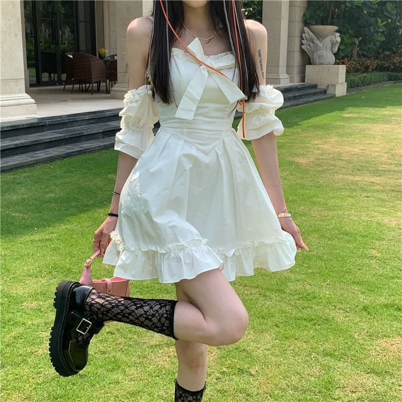 White Kawaii Fairy Strap Dress Women Patchwork Off Shoulder Sexy Party Mini Dresses Bow Ruffle Sweet Cute Princess Sundress 2021 2