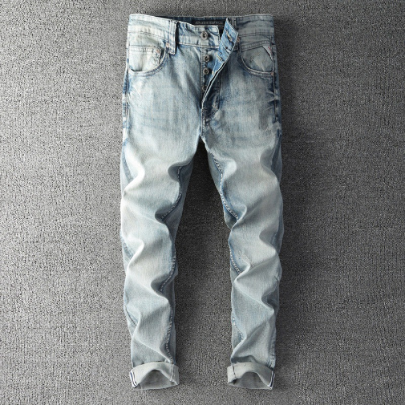 BF Harajuku Wind Paragraph Four Seasons Jeans Men's Slim Fit Pants Medium Waist Greyish Black Trousers [QQ Group: 58411717