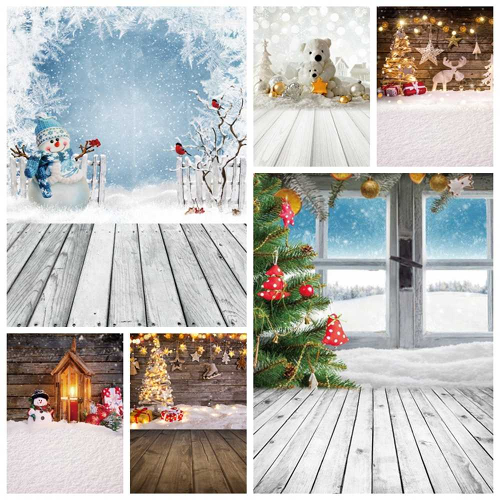 Zhy Beautiful Snowflake Winter Snow Photography Background 7X5FT Snowman Wooden Floor Green Pine Trees Backdrop Wedding Theme Party Baby Shower Children Artistic Portrait Photo