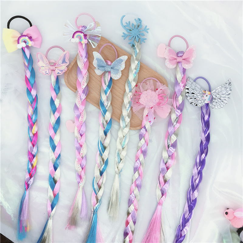 NEW Colorful Wig Pigtail Elastic Hair Band For Girls Sequin Glitter Unicorn Scrunchies Ponytail Hair Ropes Kids Headwear