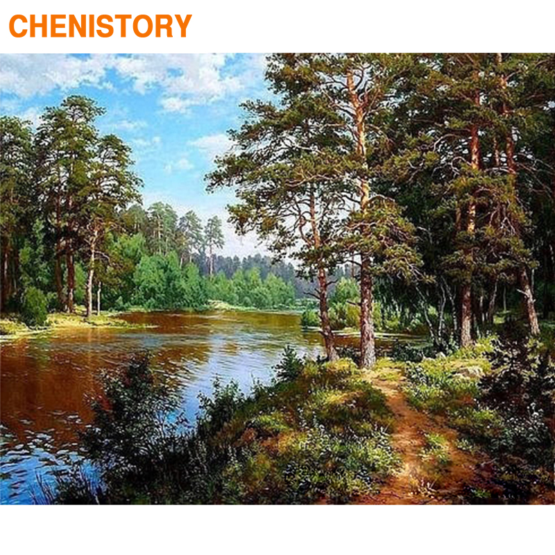 CHENISTORY Frame Forest River DIY Painting By Numbers Kit Landscape Picture By Numbers Acrylic Paint By Numbers For Home Decors