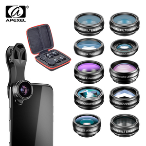 Image 1 - APEXEL Phone Camera Lens 10 in 1 Kit Wide Fisheye Telephoto Macro Lens With Remote Shutter for iPhone Samsung Most Smartphones