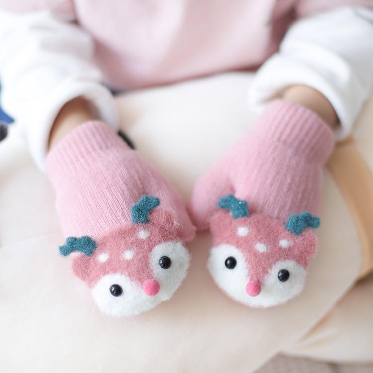 AutumnFall Kids Baby Winter Warm Knit Wool Gloves Cute Cartoon Thicken Mittens