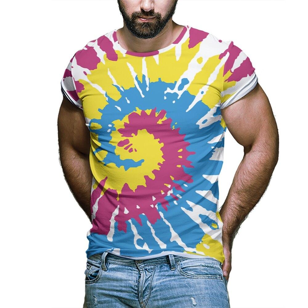 Европейская и американская летняя трендовая футболка с цифровой геометрической 3d-печатью Вертиго для мужчин, Повседневная футболка с коро...