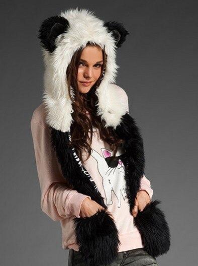 Женский/мужской зимний капюшон из искусственного меха, ушанки для животных, ручные карманы, 3в1, капюшон, шапка, волчий шарф с животными, перчатки, отправка в ближайшее время - Цвет: 11