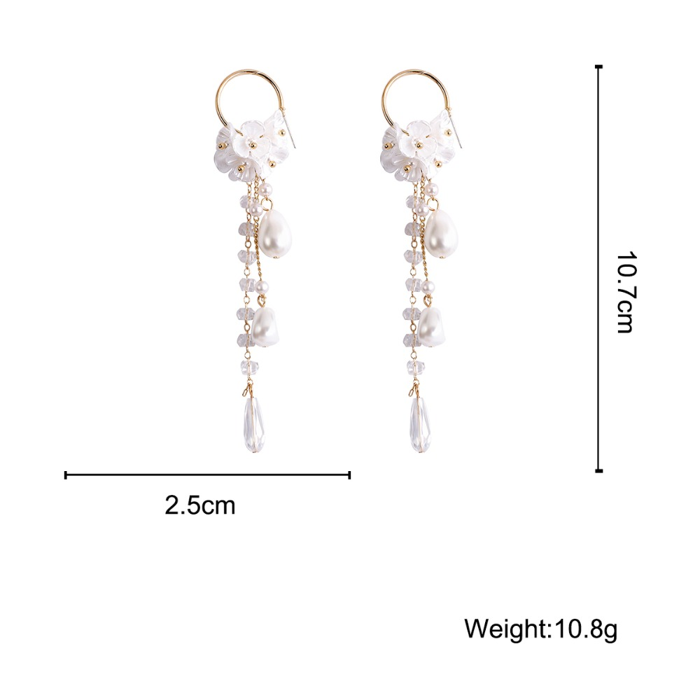 2019 Korean Hottest Fashion Butterfly Pendant Long Section Tassel Water Drop Dangling pearl Drop Earrings For Women Jewelry