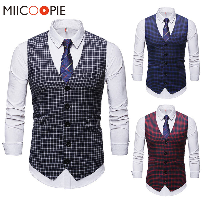 Wedding Plaid Chalecos Para Hombre New Fashion Sleeveless Single Breasted Suit Vest Men Autumn Male Business Formal Waistcoat