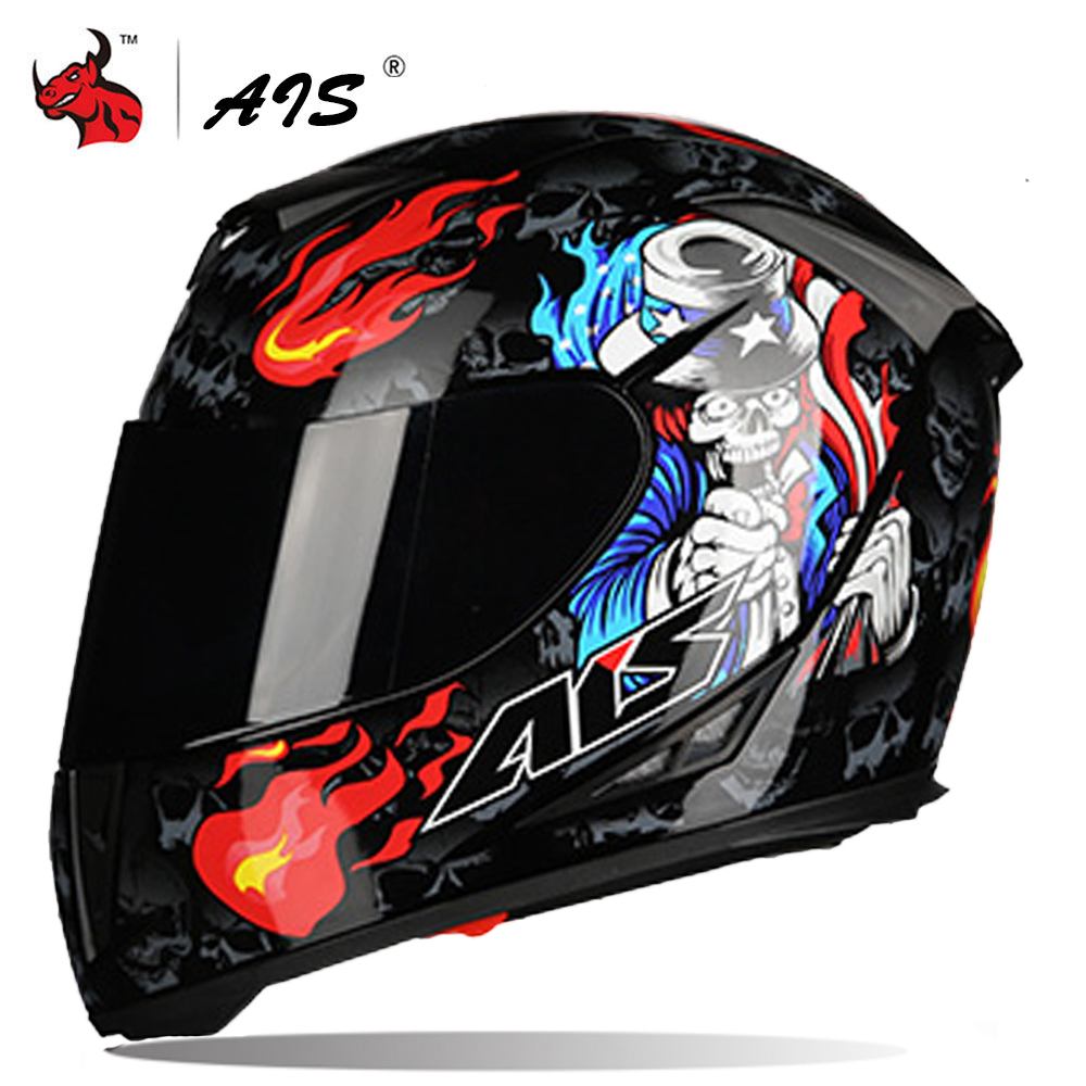 AIS Motorcycle Helmet Double Lens Crash Helmet Riding Full Face Helmets Biker Moto Helmet Motorbike Scooter Riding Biker Casco