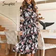 Simplee seksi çiçek baskı maxi elbise zarif ofis bayan standı yaka uzun parti elbise Ruffled sonbahar gevşek uzun kollu elbise