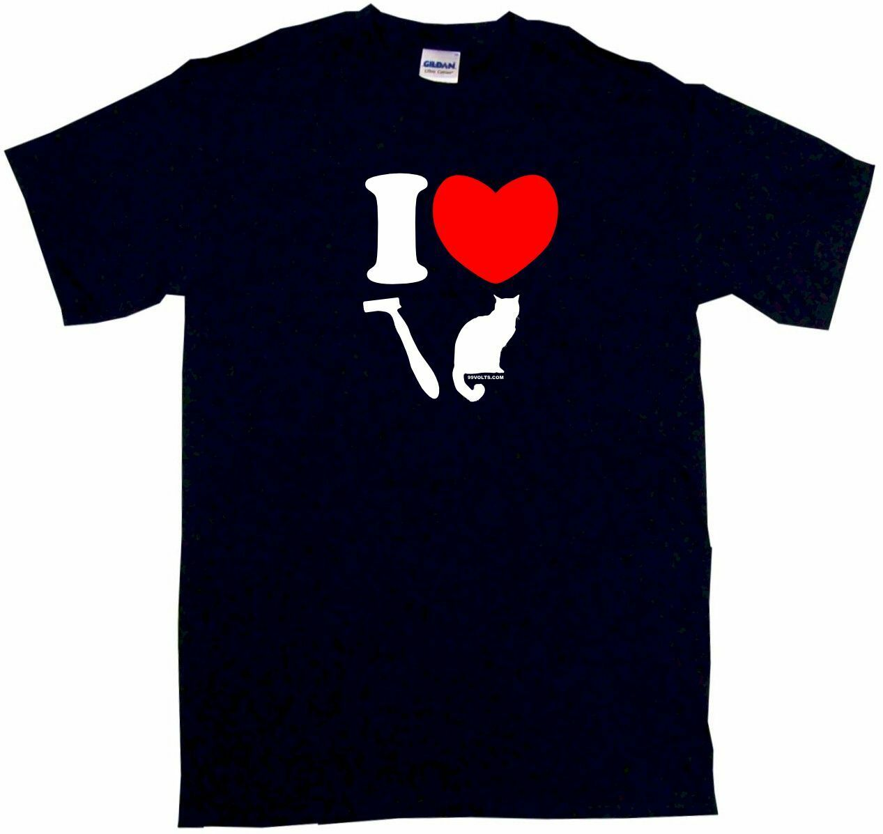 I Heart LOVE <font><b>Shaved</b></font> Pussy Cat Logo Men's <font><b>Shirt</b></font> Pick Size SM 6XL Color S/S L/S image