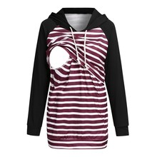 Maternity Long Sleeve Hooded Nursing Tops Pullover Sweatshirt For Breastfeeding