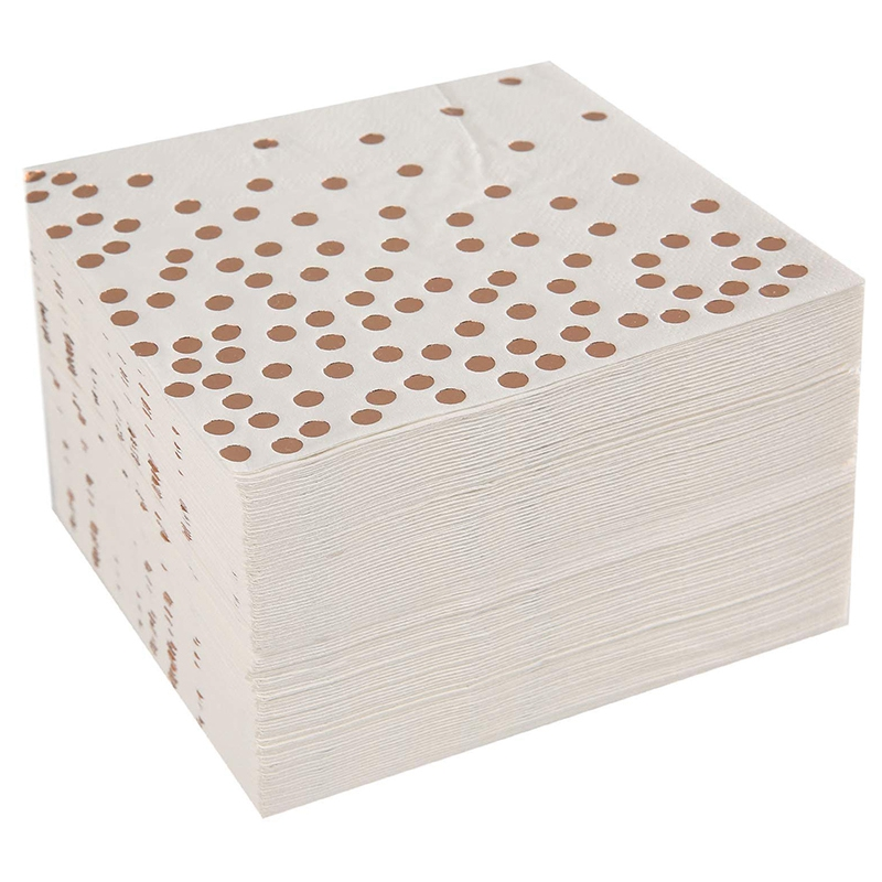Cocktail Paper Napkins Hot Stamped With Rose Gold Foil Polka Dotwhite Color Paper Napkin Widely Used In Bar, Coffee Shops, Party