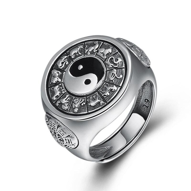 2019 Tai Chi potins zodiaque anneau réglable 100% pur 925 argent Sterling pour hommes bague de fiançailles bijoux fins cadeaux d'anniversaire - 2