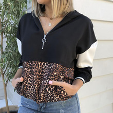 Women Leopard Print Pullover Sweatshirts Casual Patchwork Contrast Lady Hoodies Fashion Zip Up Hooded Sweatshirt streetwear D30 floral print contrast trim zip up jacket