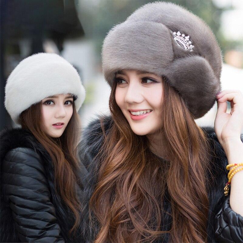 0-Women's New Winter Mink Fur Hats 2020 Ladies Fur Hats New Fashion Ear Protection Crown Hats Winter Warm Fur Straw Hats смотреть на Алиэкспресс Иркутск в рублях