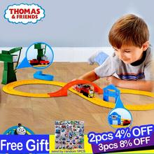 цена на Original Thomas and friend's model car children's toy celti at the dock alloy series track set BHR95 boys train toys