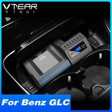 Vtear QI Auto Drahtlose Ladegerät Für Mercedes Benz GLC 250 X253 AMG Innen Zubehör 15W Schnelle Telefon Lade Platte 2021-2016