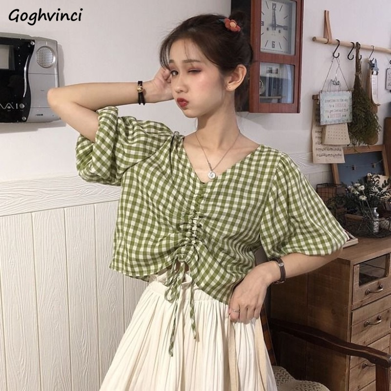 Women Blouses V-neck Short-sleeve Summer Pleated Lace-up Plaid Sweet All-match Girls Ulzzang Tops Shirts Leisure Elegant Chic