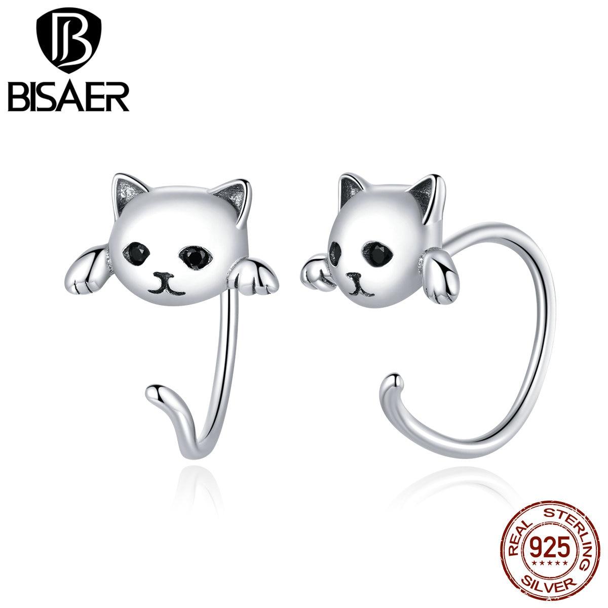 BISAER boucles d'oreilles 925 en argent Sterling mignon chat amour petit libre-Pick Design boucles d'oreilles pour les femmes en argent Sterling bijoux ECE965