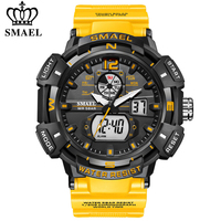 SMAEL-reloj Digital de cuarzo para hombre, cronógrafo de marca de lujo, resistente al agua, con doble pantalla, para deportes al aire libre, Masculino