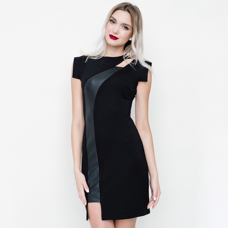 Women Sexy Hollow Out Pu Leather Patchwork Dress Lady O Neck Short Sleeve Sheath Dress 2020 Spring Summer Streetwear Mini Dress