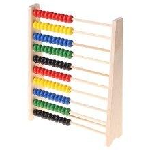 Ábaco de madeira 10-row contas coloridas contando crianças matemática aprendizagem brinquedo educacional