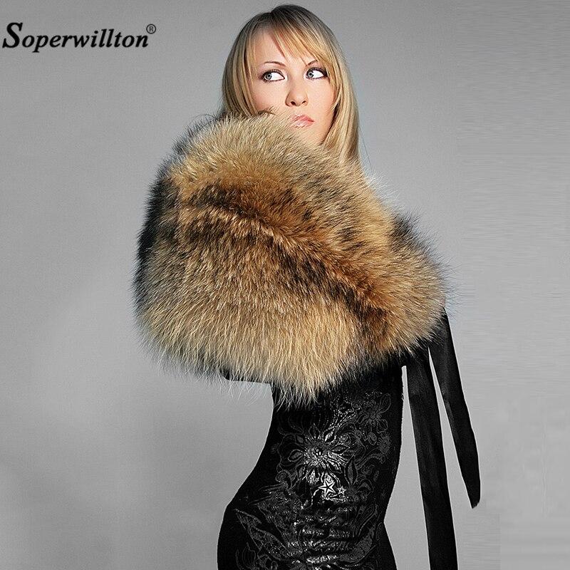 Новинка, зимний воротник из натурального меха и женские шарфы, модное пальто, свитер, шарф, воротник, роскошный мех енота, шейный платок
