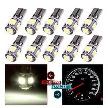 10x t10 w5w 194 168 5 smd 5050 lâmpada led canbus livre de erros interior do carro 1w cunha luz lateral interior indicador branco 12v