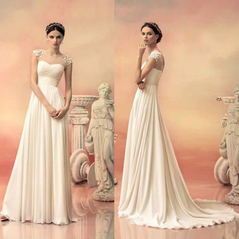 Bridal Gown Elegant A-Line Vestido De Noiva Pleat Sexy Sheer Neck With Luxury Beading Brides 2018 Mother Of The Bride Dresses