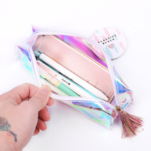 Pen Case Holder Transparent Tassels Zipper Pencil Bag Colorful Student Stationery Pouch FKU66