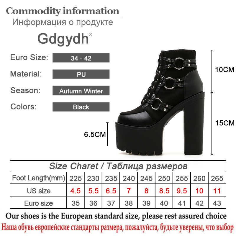 Gdgydh 2019 ใหม่แฟชั่นรถจักรยานยนต์รองเท้าผู้หญิงแพลตฟอร์มรองเท้าส้นสูงรองเท้า Lacing รอบ Toe รองเท้าผู้หญิงฤดูใบไม้ร่วงฤดูใบไม้ร่วงสีดำ