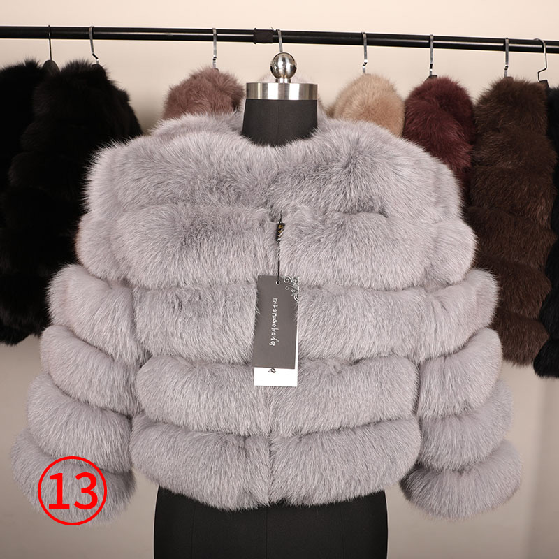 maomaokong 50CM Natural Real Fox Fur CoatWomen Winter natural fur Vest Jacket Fashion silm Outwear Real Fox Fur Vest Coat Fox 40
