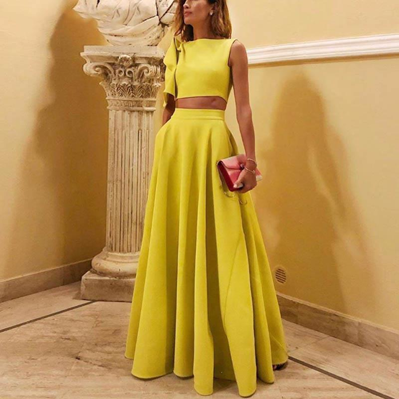 2019 Streetwear O-Neck Flare Sleeve Elegant Women Set One-Shoulder Crop Tops And Maxi Skirt Two Piece Set