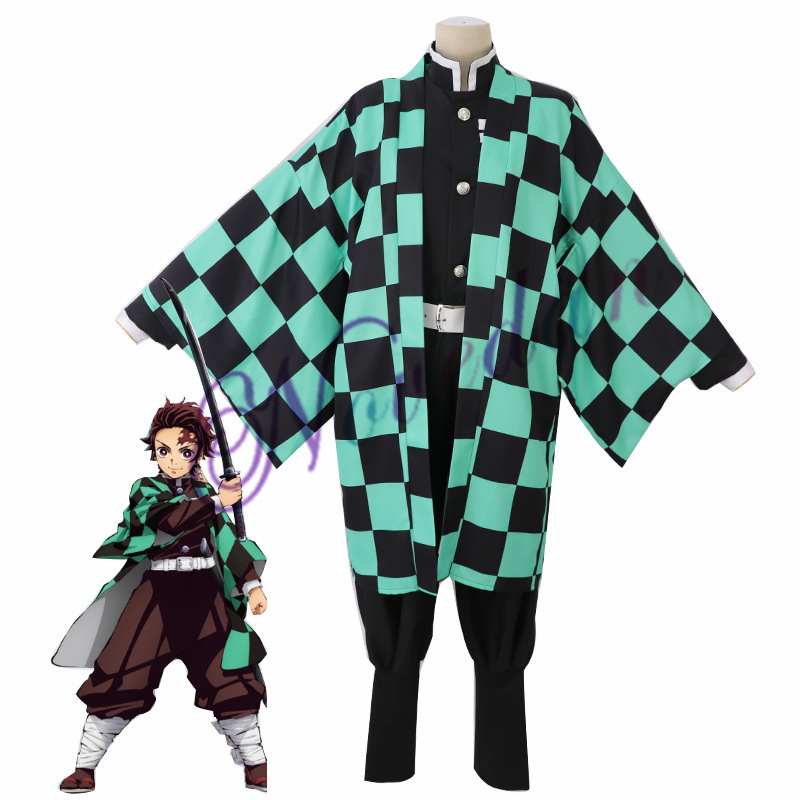 Аниме Костюм демон убийца Косплей Tanjirou Kamado Косплей Костюм Kimetsu no Yaiba мужское кимоно костюм на Хэллоуин