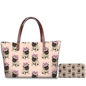 WHEREISART/милые сумки на плечо с принтом мопса и бантом; Модные женские повседневные сумочки; комплект водонепроницаемых кошельков на молнии дл...