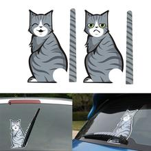 SLIVERYSEA Car Stickers Animal Funny Cat Moving Tail Stickers Rear Windshield Window Wiper Decals Car-Styling Decor Sticker цена