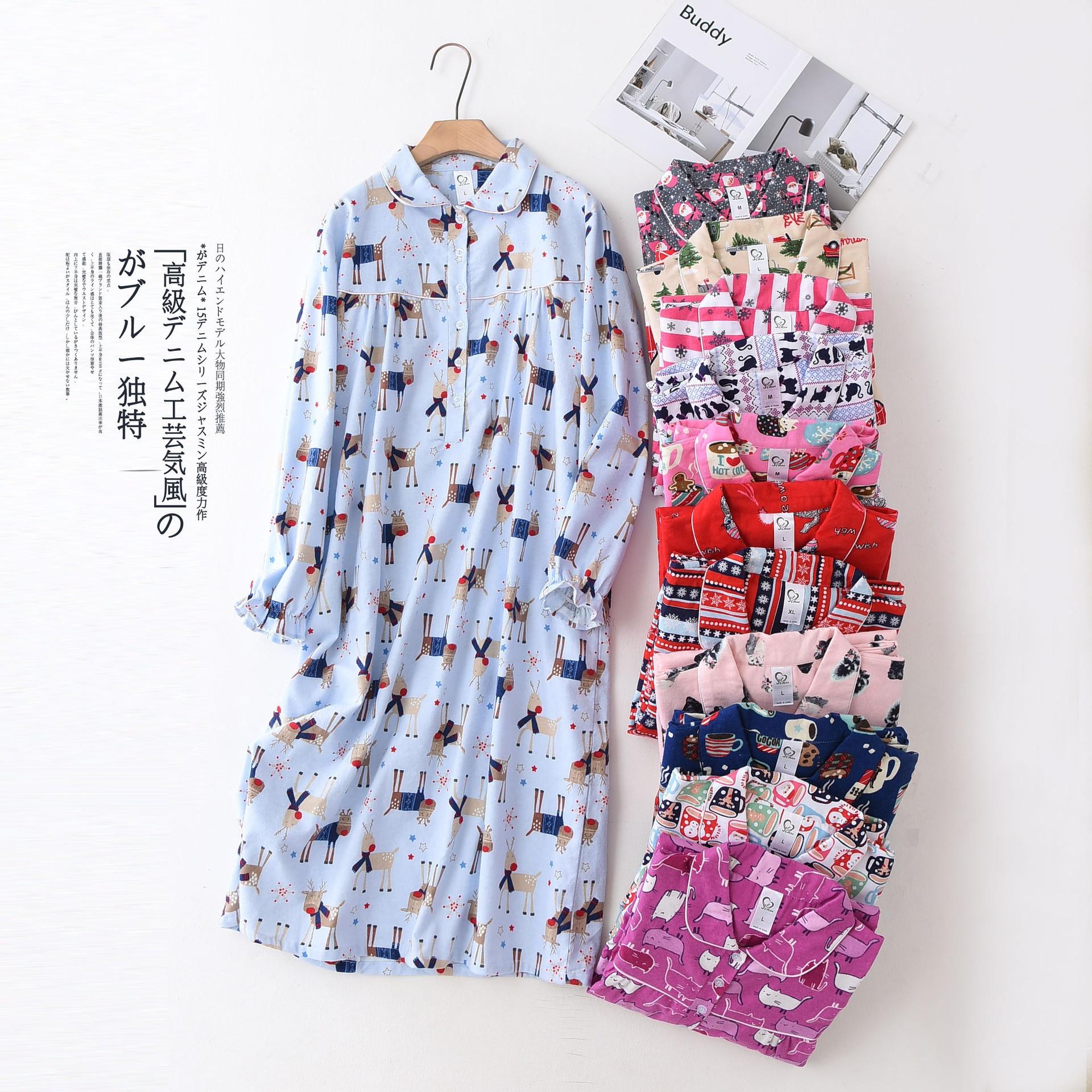 Autumn Cotton Wool Plus Size Women   Nightgowns   Cartoon Long Sleeves Nightdress Womens Sexy Sleepwear Long   Nightgown     Sleepshirts