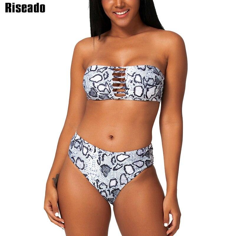 Riseado Sexy Bandeau Bikini Set Snake Print Swimsuits 2020 New Brazilian Bikinis Hollow Out Swimwear Women Push Up Biquini