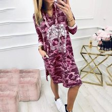 Camouflage Short Dress Women 2019 Autumn Fashion Skull Print Plus Size Causal Robe Vestido Korean High Street Hooded Dresses 3XL