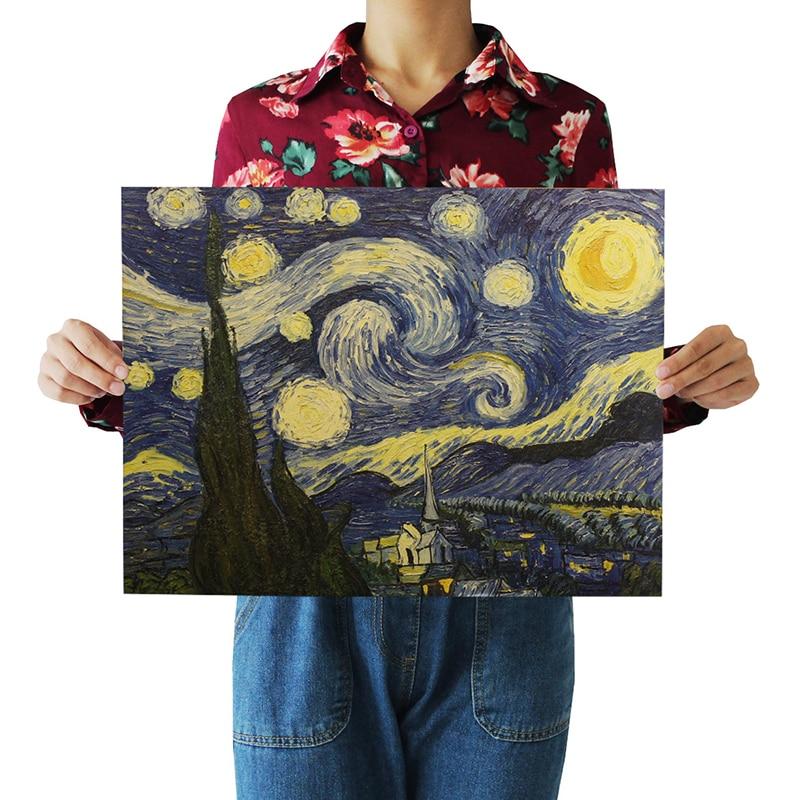 1Pcs 51.5x36cm מפורסם בציר ואן גוך ליל הכוכבים ציור פוסטר רטרו קראפט נייר קפה בית תפאורה קיר מדבקה