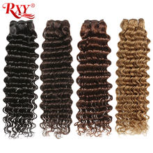 Deep Wave Bundles RXY Brazilian Hair Sale Remy Human Hair Weave Bundles #1B/#2/#4/#27 Bundles Colored Bundles Fast Shipping(China)