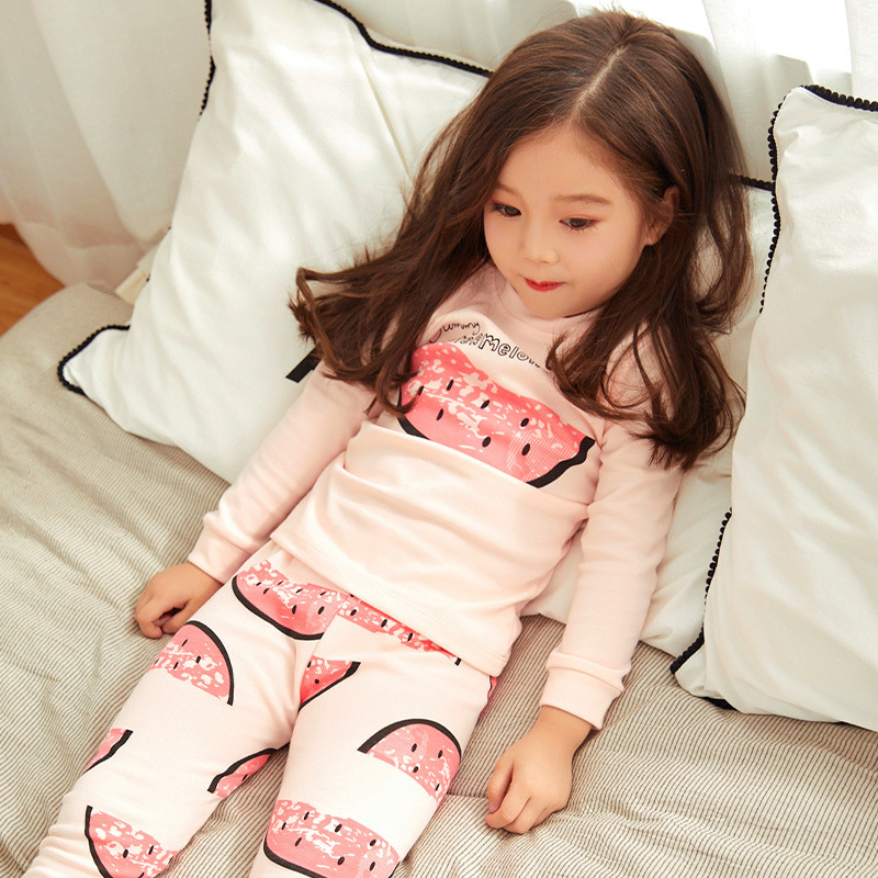 2018 New Style CHILDREN'S Underwear Suit Pure Cotton BOY'S Girls Cotton Jersey Autumn And Winter Pajamas Thermal Underwear Track