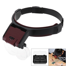 6X Headband Eyeglass Magnifier 10 Amplification Ratio Adjustable Magnifying Glass Interchangeable Lens with LED Light and 4