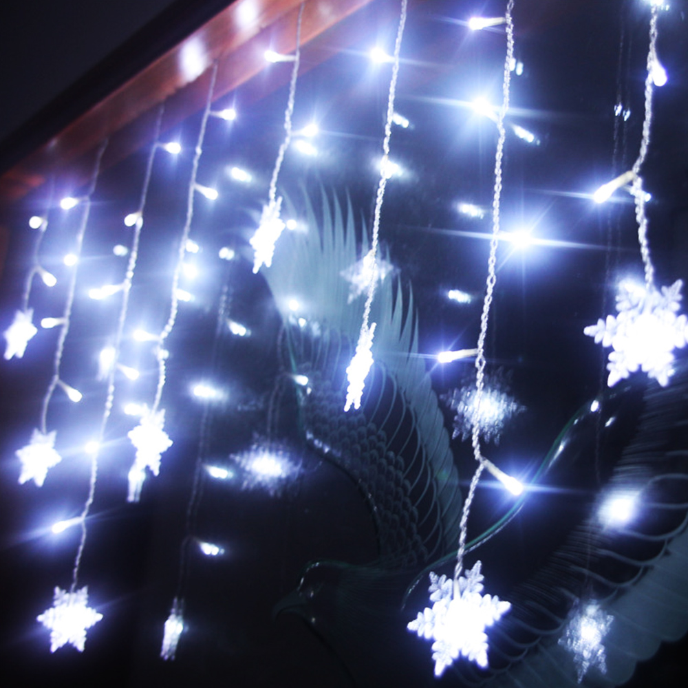 3.5M/5M 8 Modes Snowflake LED String Light Curtain Fairy Lamp Snowflake Flexible Christmas New Year Decoration EU/US/AU/UK Plug