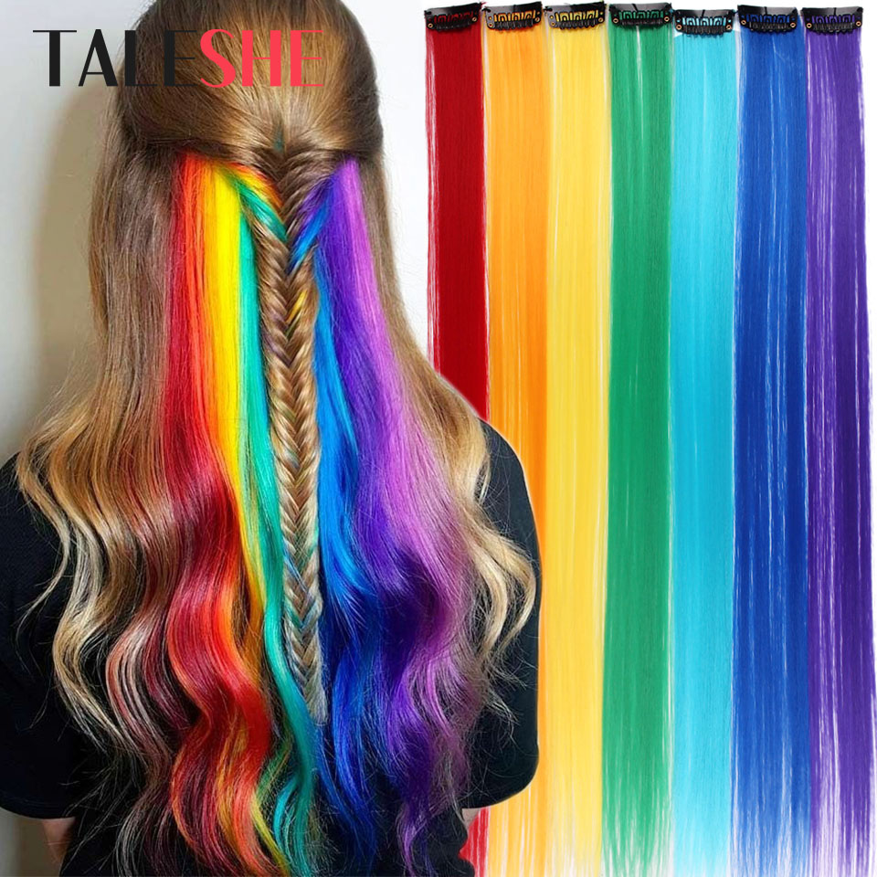 Straight Clip In One Piece Long 20inches Heat Resistant Synthetic Extension Hair Rainbow Ombre Pink Fake Hair For Women TALESHE