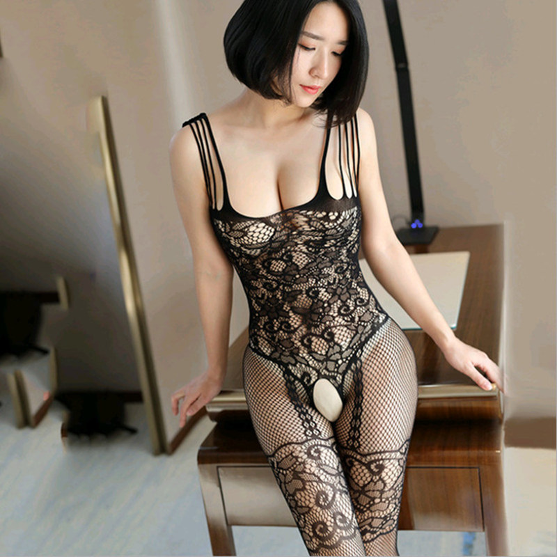 Sexy Lingerie Hot Open Crotch Babydoll Dress Hot Lace Erotic Costumes Underwear Bodystocking Porno Fishnet Mesh Nuisette