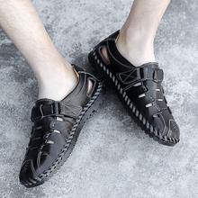 Letnie męskie sandały oryginalne skórzane męskie buty plażowe rozmiar 39-48 męskie obuwie kapcie męskie trampki letnie buty klapki * tanie tanio EUDILOVE CN (pochodzenie) Prawdziwej skóry Skóra bydlęca Podstawowe NONE Classics Slip-on Mieszkanie (≤1cm) Pasuje prawda na wymiar weź swój normalny rozmiar
