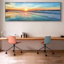 Modern Sunset View Canvas Paintings On The Wall Art Posters And Prints Waves Seascape Art Pictures For Bed Room Wall Decoration