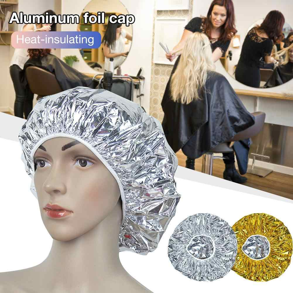 Heat Insulation Aluminum Foil Hat Shower Cap Elastic Bathing Cap for Women Hair Salon Bathroom