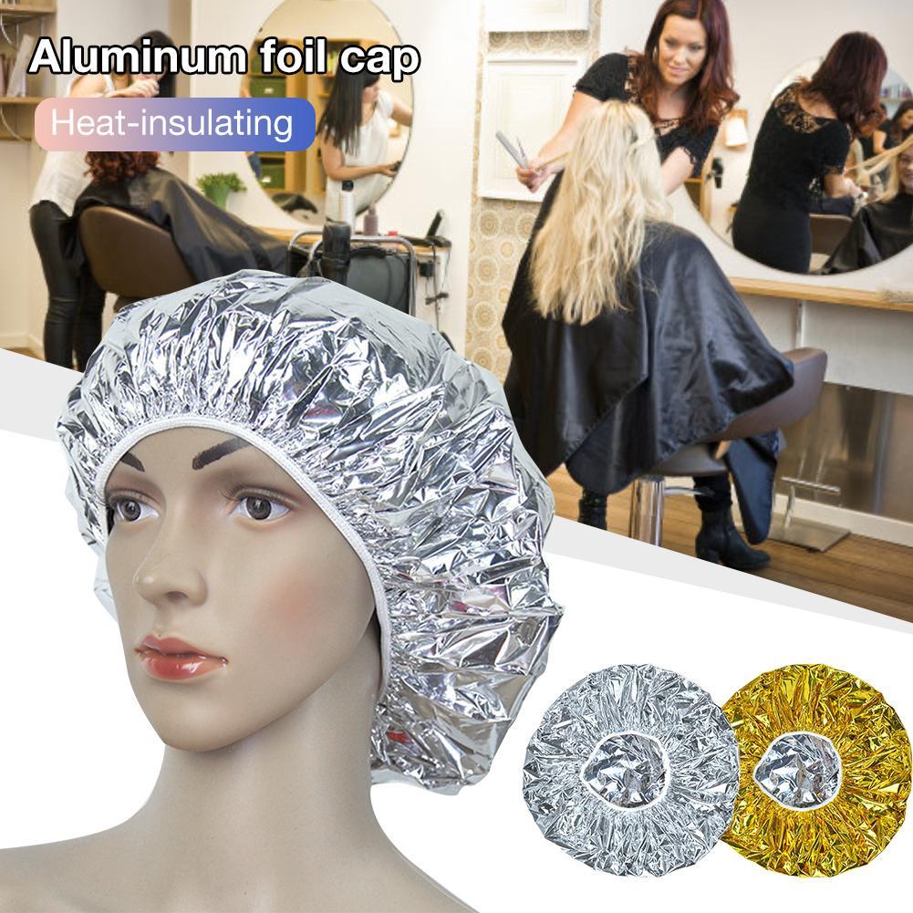 Heat Insulation Aluminum Foil Hat Shower Cap Elastic Bathing Cap For Women Hair Salon Bathroom